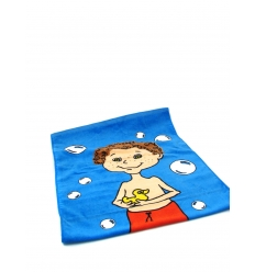 Bath towel with a character