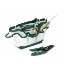Trädgårdsverktyg i väska