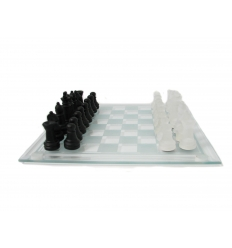Chess game in glass