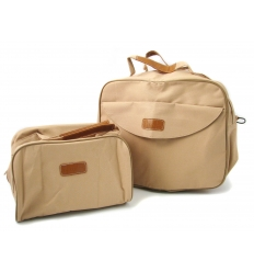 Beige travel bag with customer logo