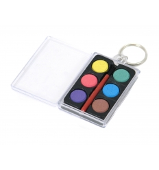6 Water colour + brush in plastic box with keyring