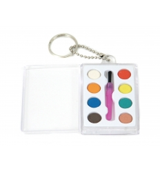 8 Water colour + brush in plastic box with keyring