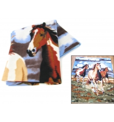 Plaid with three horses