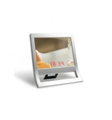 Stående spegel med digital klocka