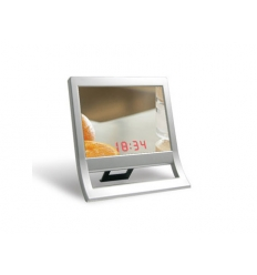 Standing mirror with digital clock