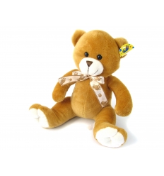 Brown bear with ribbon.