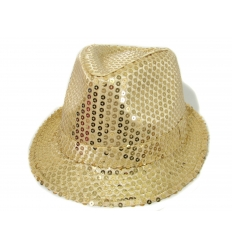 Fedora Hat - Gold Sequins