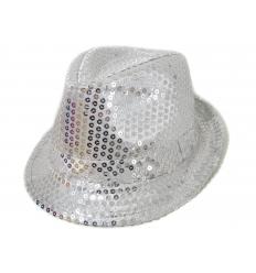 Fedora Hat - Silver Sequins