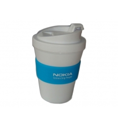 Plastic coffee cup with logo