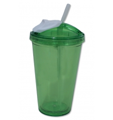 Drinking cup with straw