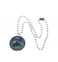 Bead necklace with logo plate
