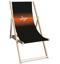 Beach chair with logo - wooden